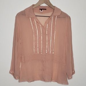 Anthropologie Tapemeasure Sheer Silk Blouse Blush
